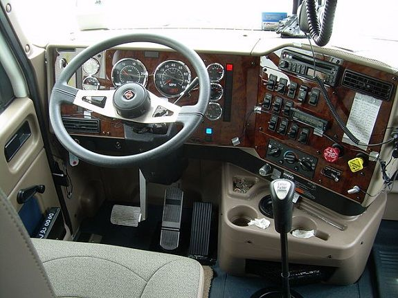 View Of The Cab Of A Semi Truck International Tractor Driving