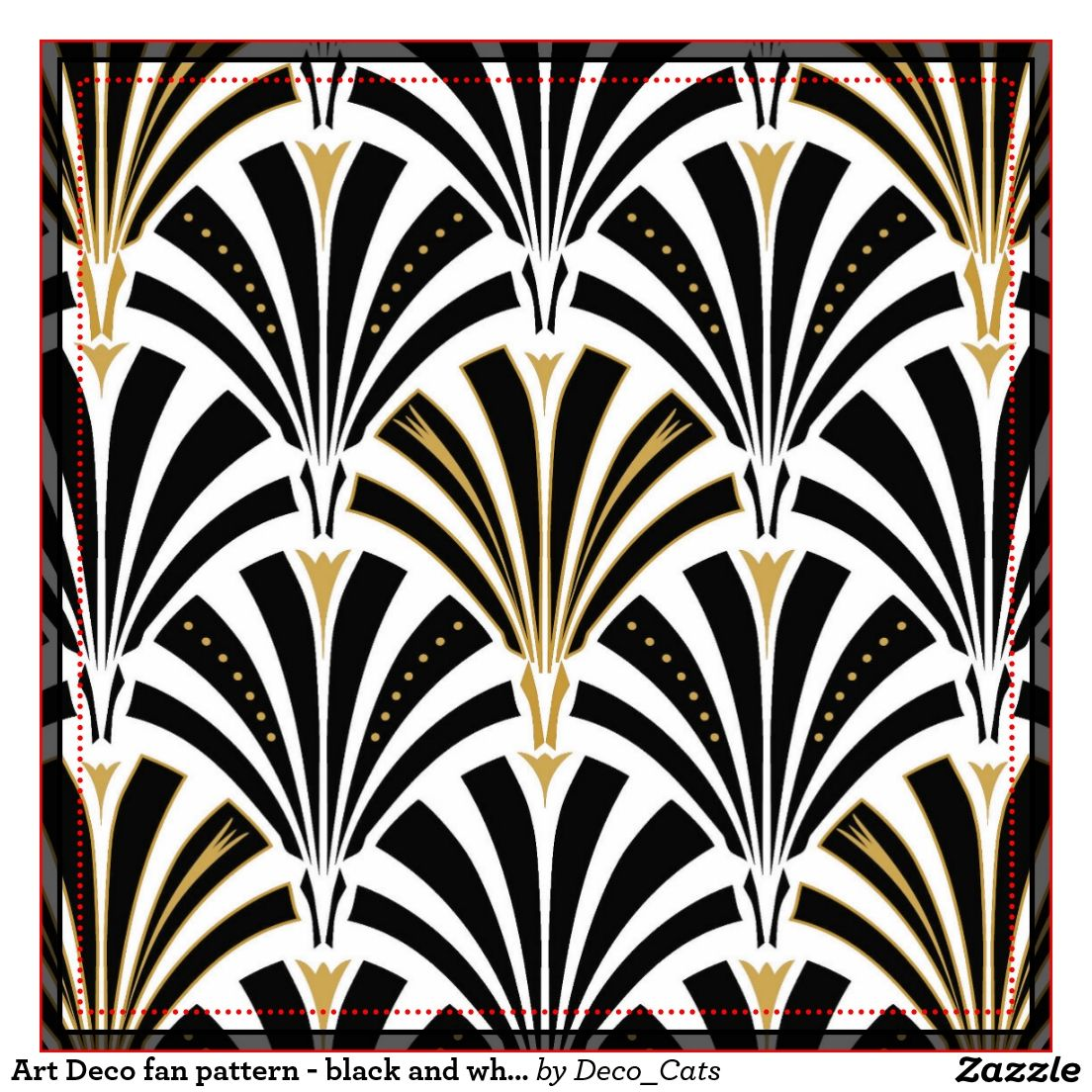 Art deco fan pattern black and white large square tile zazzle shop art deco fan pattern chocolate on pink ceramic tile created by decocats dailygadgetfo Images