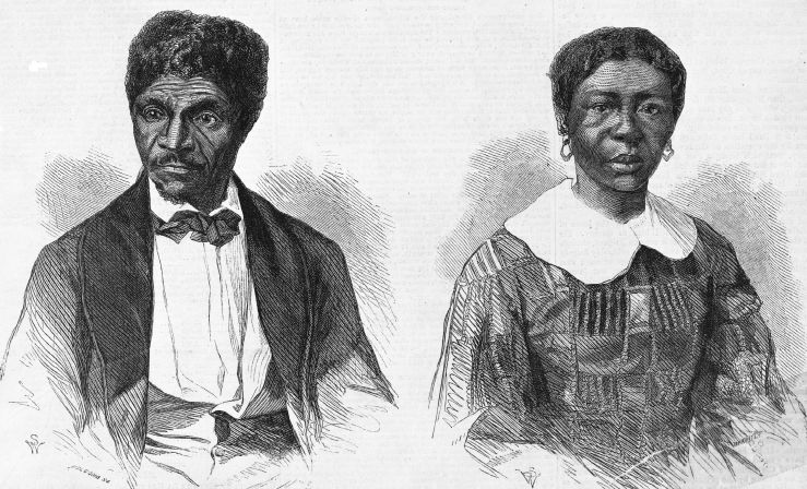 illustration with portraits of dred and harriet scott