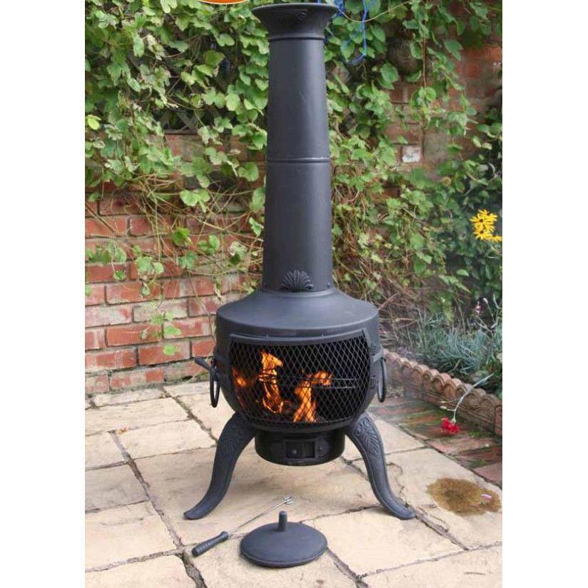 Black Steel Chiminea Log Burner Wood Heater Charcoal Modern Metal Garage  Patio