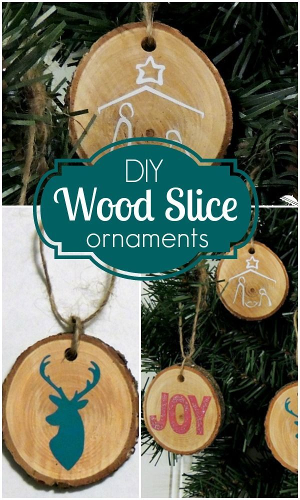 DIY Wood Slice Christmas Ornaments craft tutorial Easy Craft Ideas