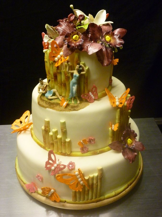 tropical themed wedding cakes tropical themed cakes hawaiian theme wedding cake 21273