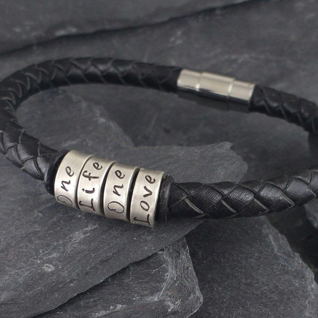 Gift Ideas For Men Men Personalized Leather Bracelet Gift For
