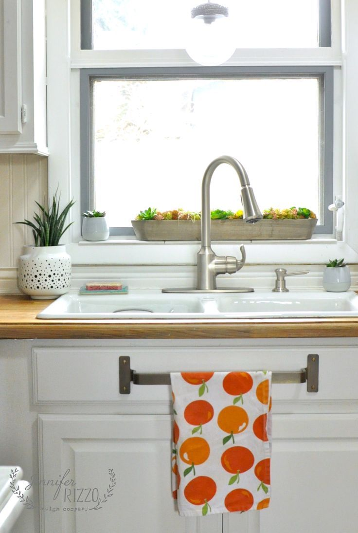 Sink area mini-makeover with brass towel bar under the sink | Sinks ...