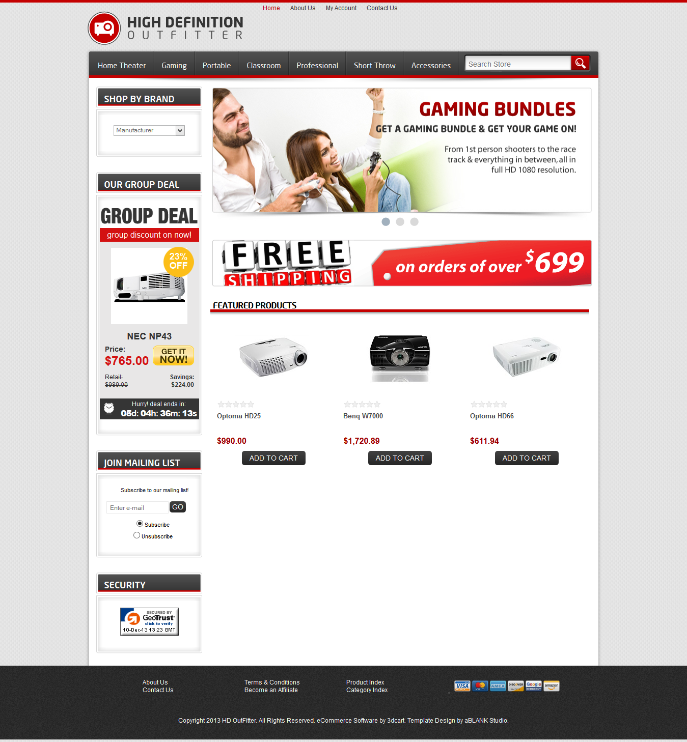 HDOutfitter 3DCart Website Template Design and Development