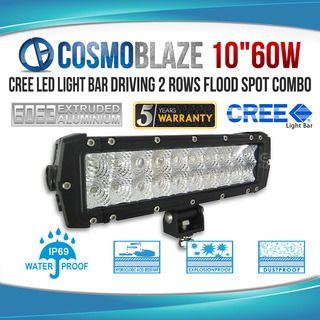 Cosmoblaze 10 60w Cree Led Light Bar Driving 2 Rows Flood Spot Combo Cree Led Light Bar Led Light Bars Bar Lighting