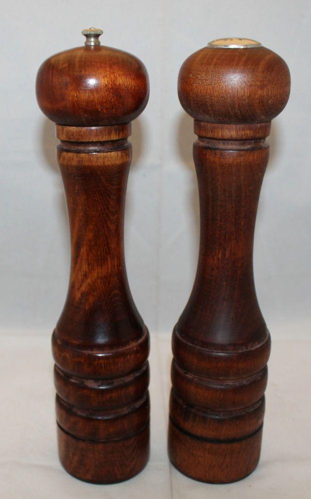 Vintage Baribocraft 12 30 5cm Tall Wooden Salt And Pepper Shaker Mill Set Brown
