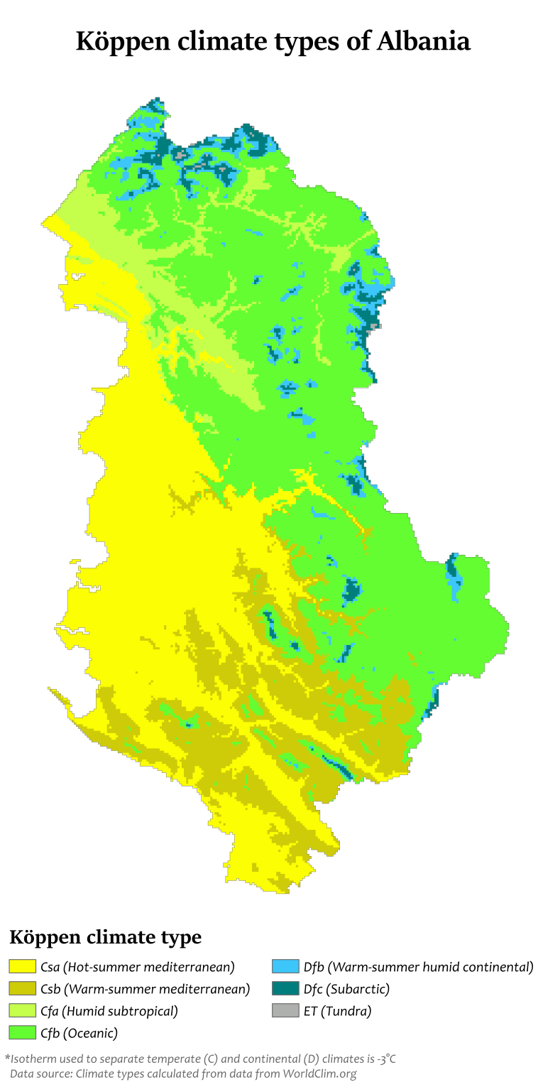 Köppen climate types of Albania MAPS Pinterest