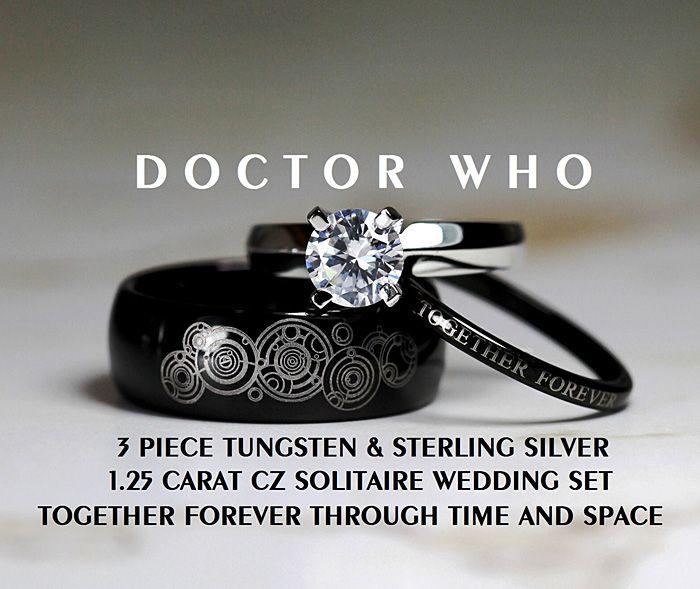 Doctor Who Rings Doctor Who Ring Doctor Who Wedding Cz Wedding Ring Sets