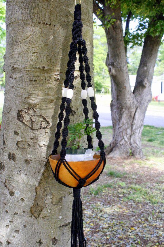 Black Macrame Plant Hanger with White Wood Beads- Retro ...