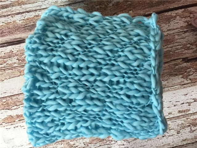 Wool Crochet Newborn Photography Props Baby Chunky Knit Blankets Basket Filler Soft Infant Photo Backdrop Rug Baby Picture Props