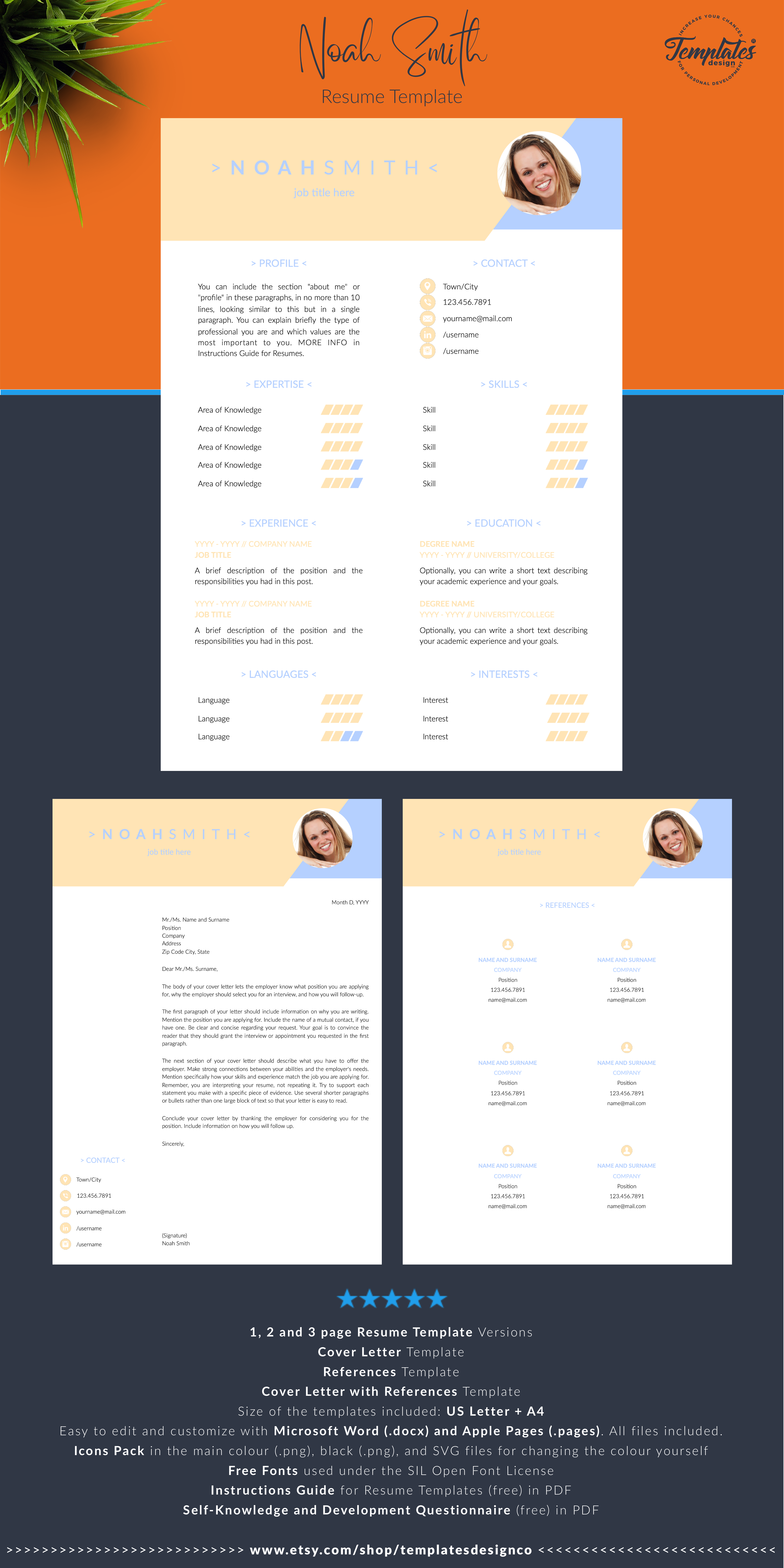 Creative Resume Template With Photo Cover Modern Cv Etsy Creative Resume Templates Resume Template Creative Resume