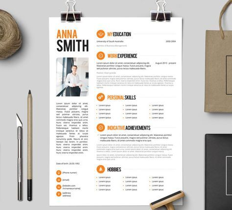 Resume Template No   Free Cover Letter  Instant Download