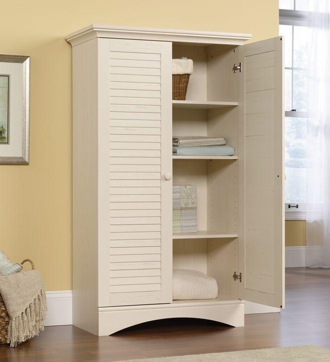 Lovely Antique White Linen Cabinet