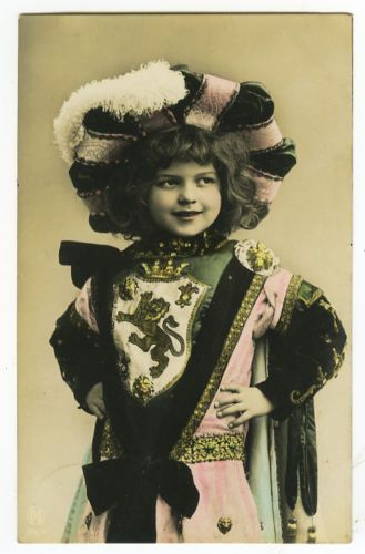 Beautiful hand tinted / Vintage cute girl (boy?) / Who is this mysterious child ? Vintage postcard ca 1910 of my favorite model / This child is such a mystery!!!..Does anyone know her (or his ?) name ? Please please tell me.: