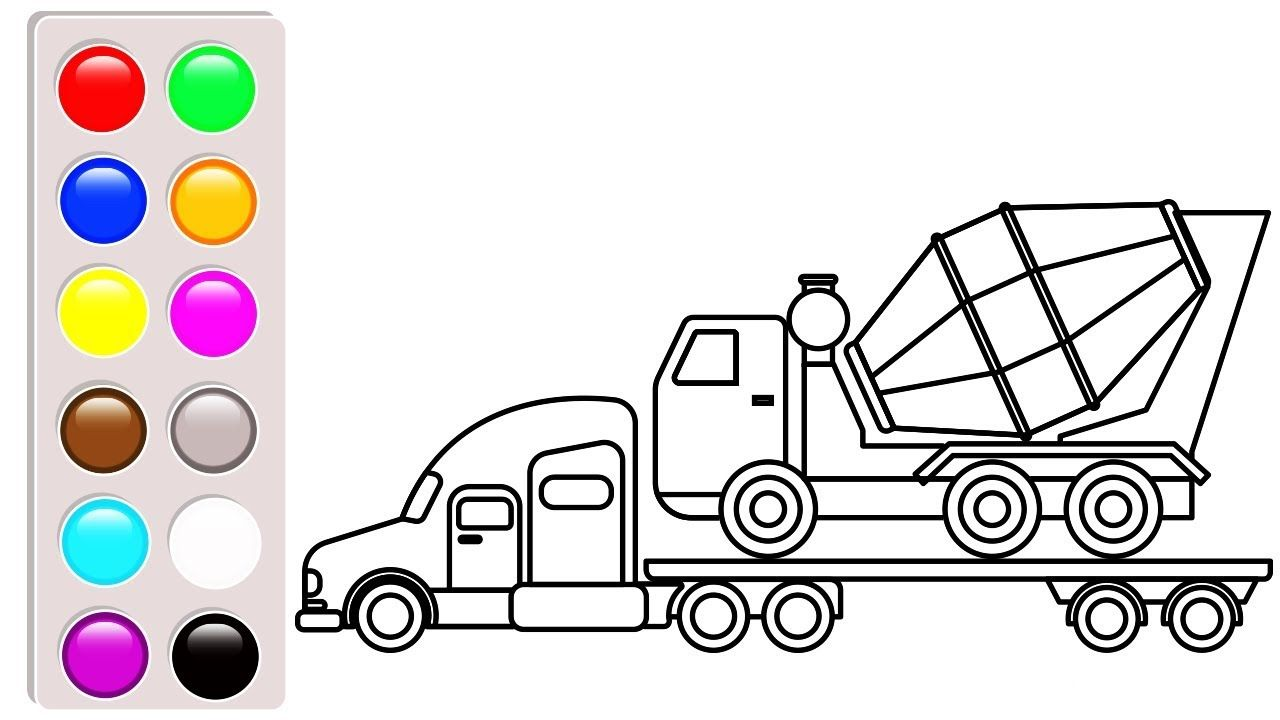 Container And Cement Truck Coloring Pages Construction Vehicles