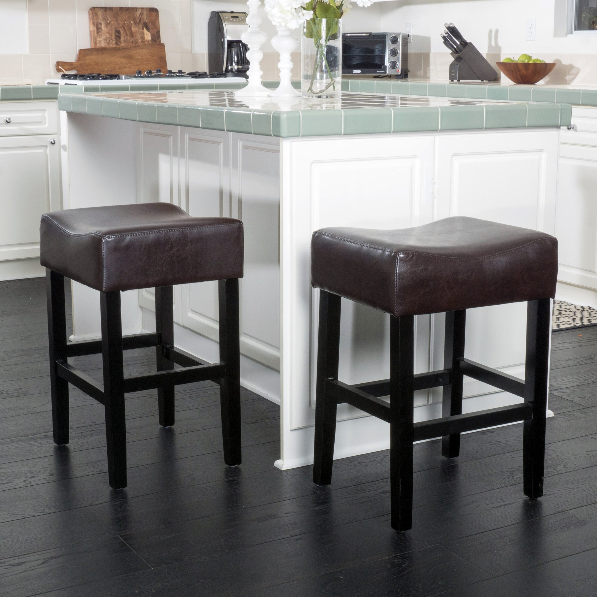 Adler Brown Leather Backless Counter Stool Set of 2 The elegant