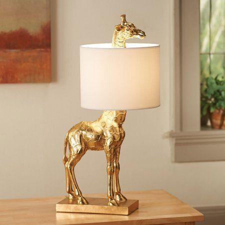Gold Giraffe Lamp with Linen Shade - Walmart.com