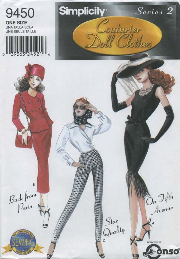 "Retro Vintage Doll Clothes Sewing Pattern | Simplicity 9450 | Year 2000 | Series 2 Couturier Doll Clothes for 15½"" Fashion Doll (such as Gene) 
