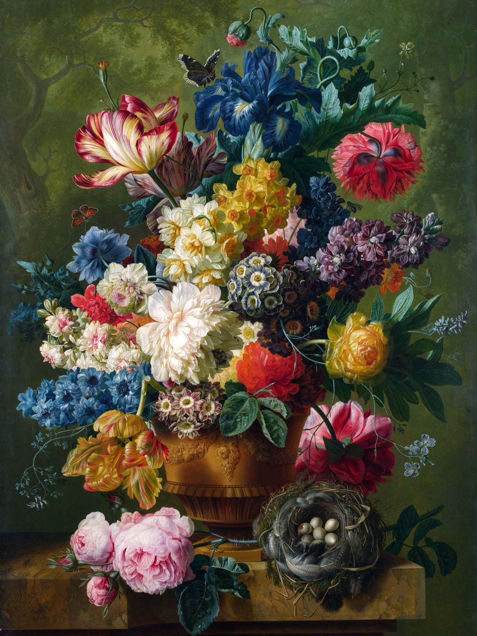 This floral painting is signed P T van Brufel me fecit 1792 It is so vibra