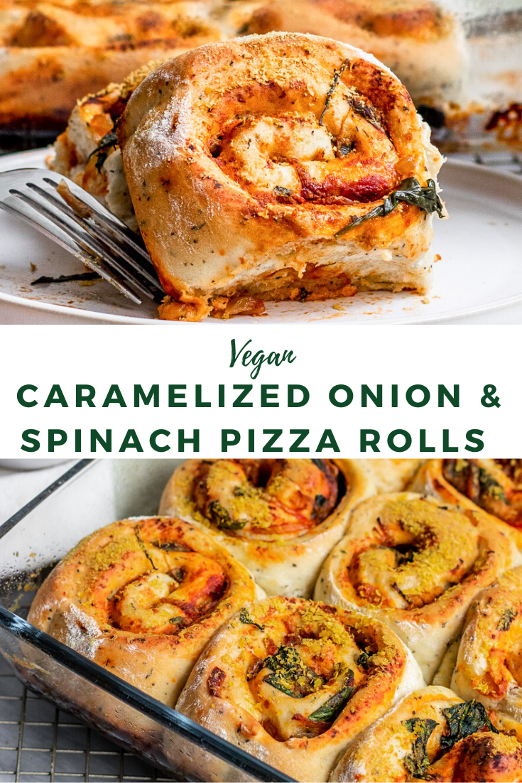 Photo of Vegan Caramelized Onion & Spinach Pizza Rolls