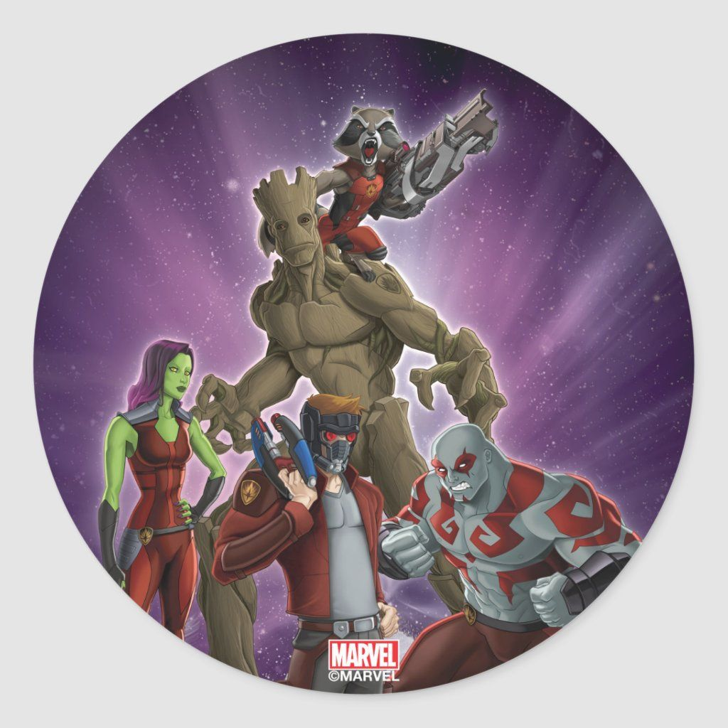 Guardians Of The Galaxy Group In Space Classic Round Sticker Zazzle Com In 2021 Guardians Of The Galaxy Round Stickers Custom Stickers