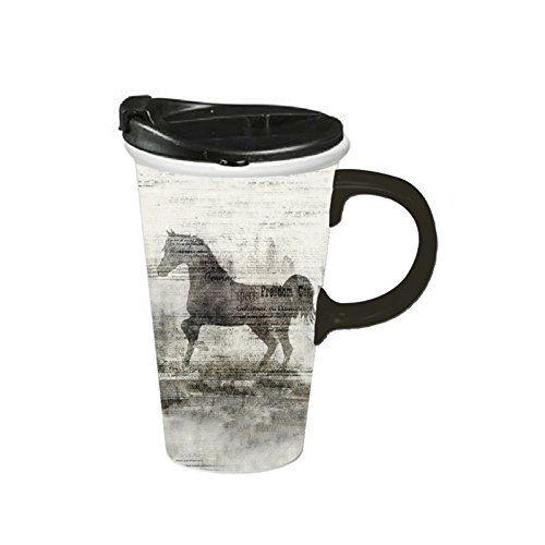 Cypress Home Ceramic Freedom Horses Travel Coffee Mug 17 ounces