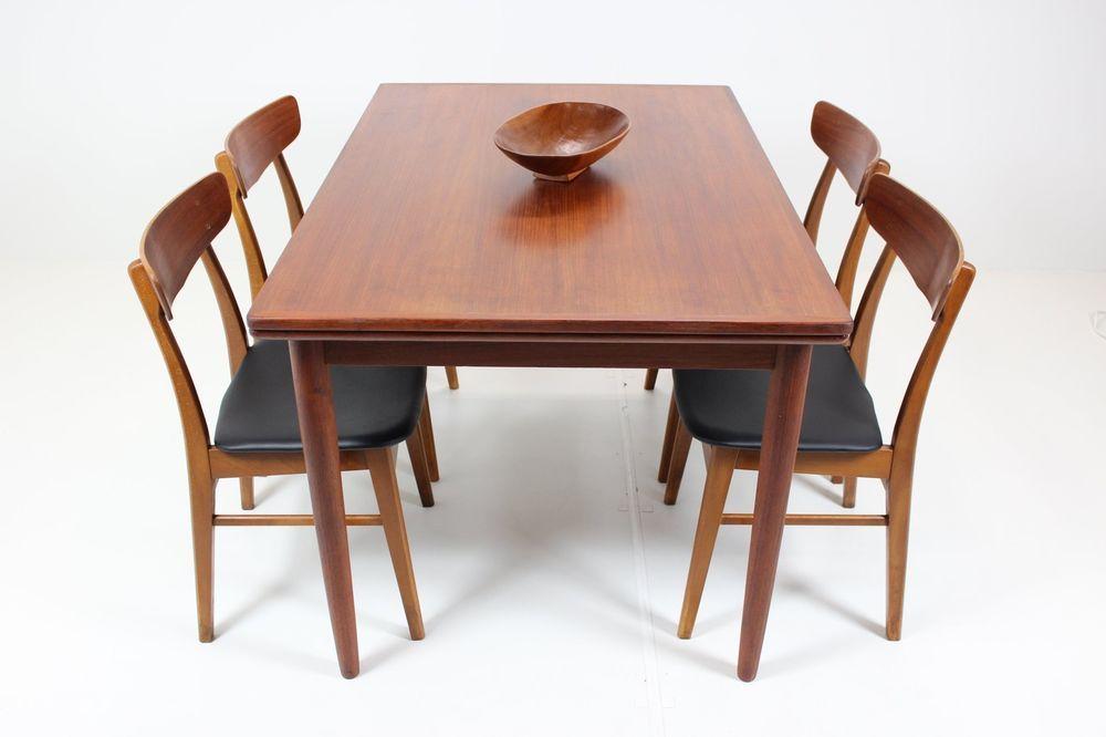 details zu 60er teak esstisch ausziehbar danish 60s extendable dining table midcentury design. Black Bedroom Furniture Sets. Home Design Ideas