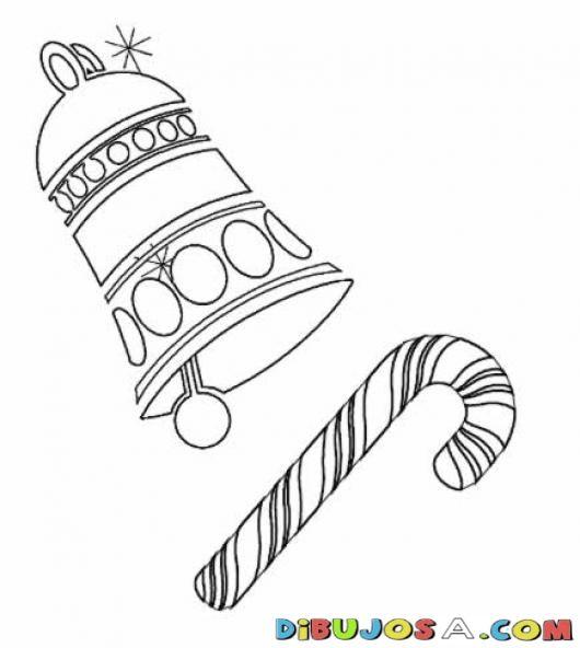Colorear Campana Y Dulce De Baston De Navidad | COLOREAR DIBUJOS DE ...