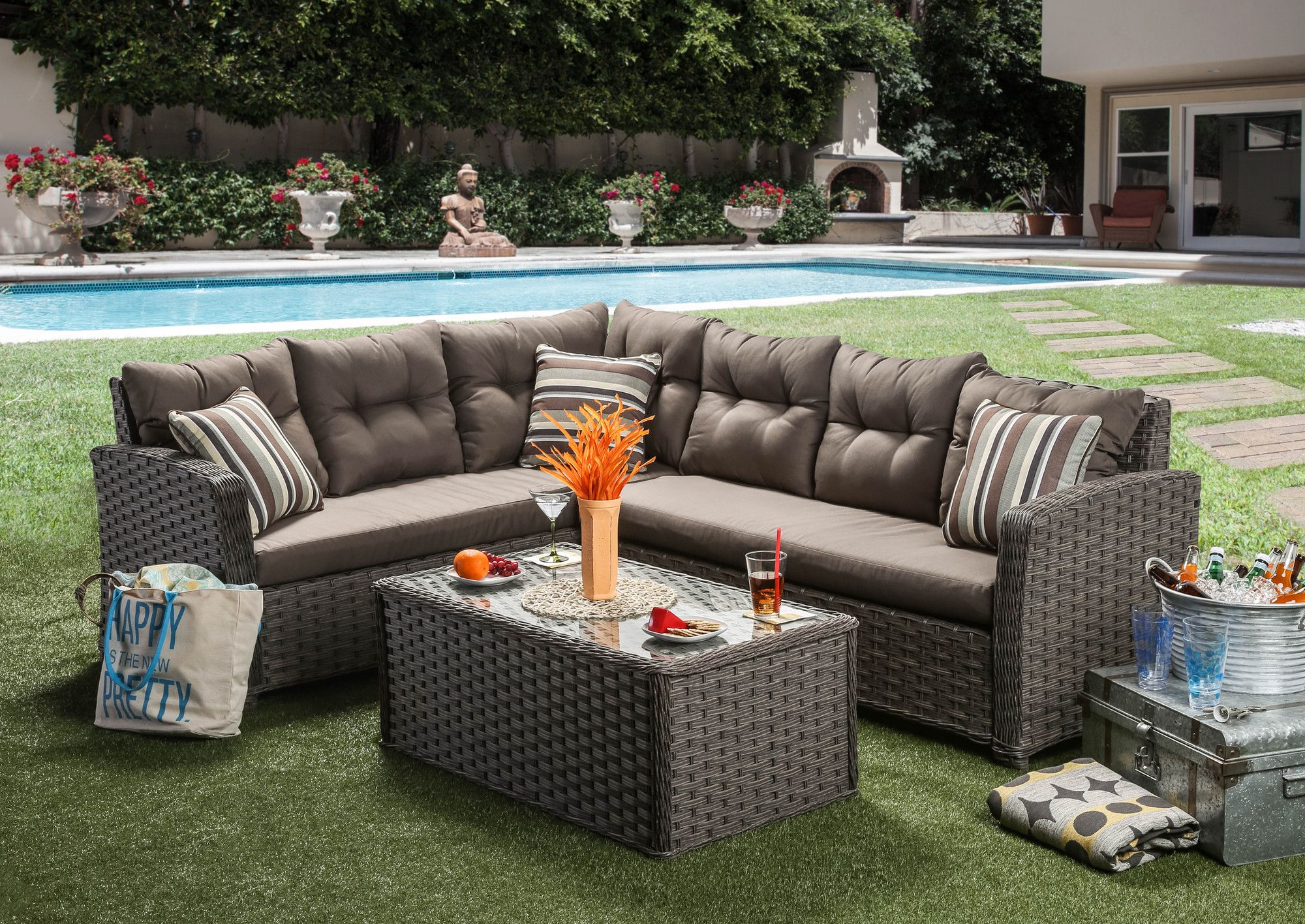 Ursula 3 Piece Deep Seating Group With Cushion Patio Sectional