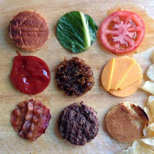 The makings of the most sensibly stacked burger that ever was.