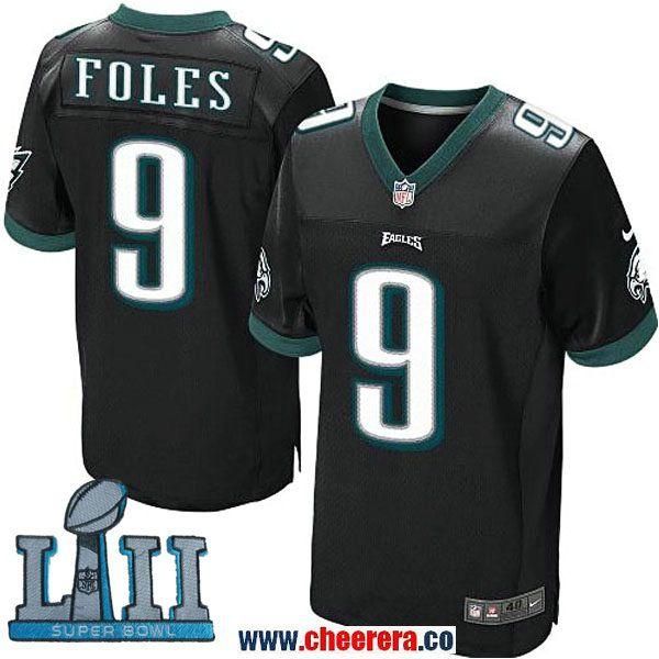 4f146817114 ... Nike Mens NFL Philadelphia Eagles 9 Nick Foles Black 2018 Super Bowl LII  Elite Jersey ...