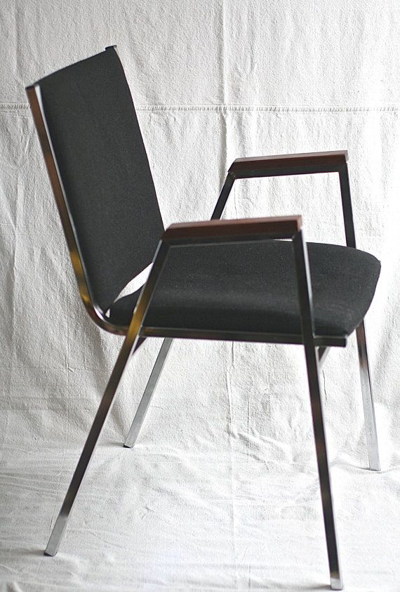 Mid Century Modern Chrome Chair Black Upholstery Wood by ivorybird