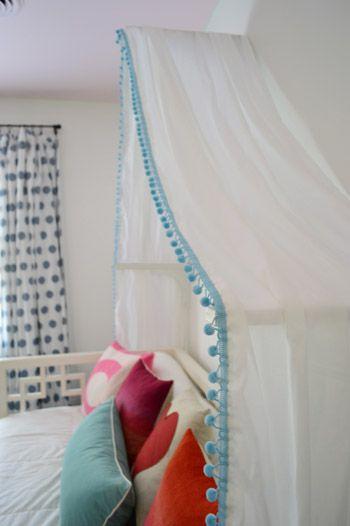 Clara's Canopy! Washable polycotton gauzze, double hemmed with pompom trim draped over shelf brackets xxx