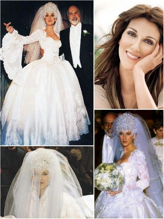 Celine Dion S Wedding Dress 20 Foot Train Tiara Weighed 7 Pounds