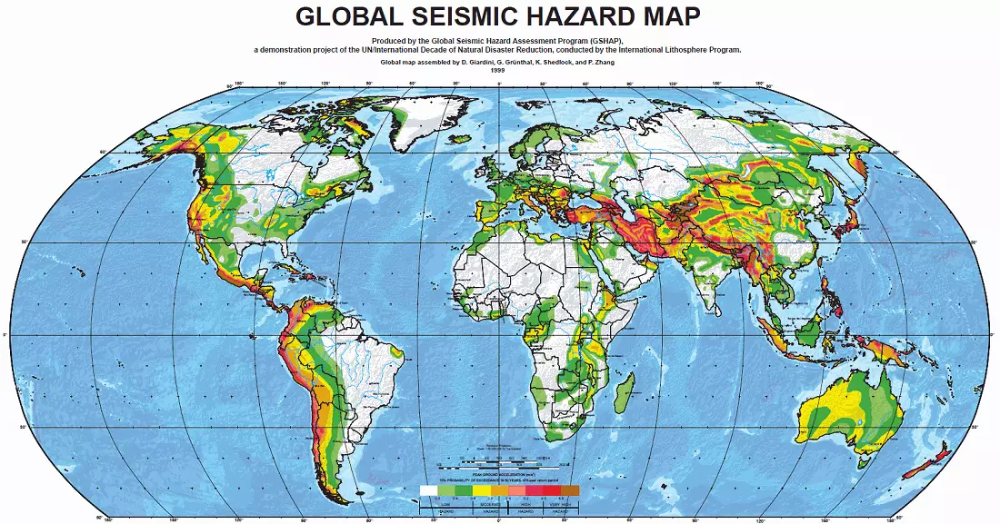The World S Major Earthquake Zones Earthquake Zones Major Earthquakes Hazard Map