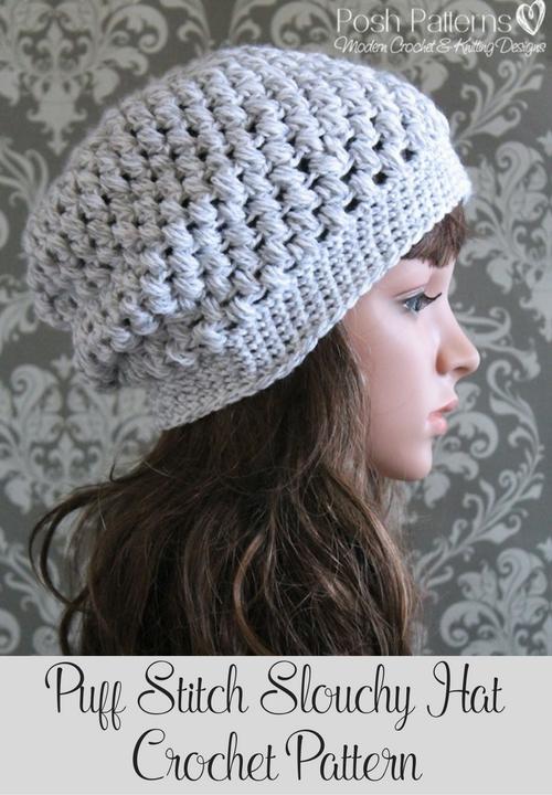 Puff Stitch Slouchy Hat Crochet Pattern | Gorros, Tejido y Gorro tejido