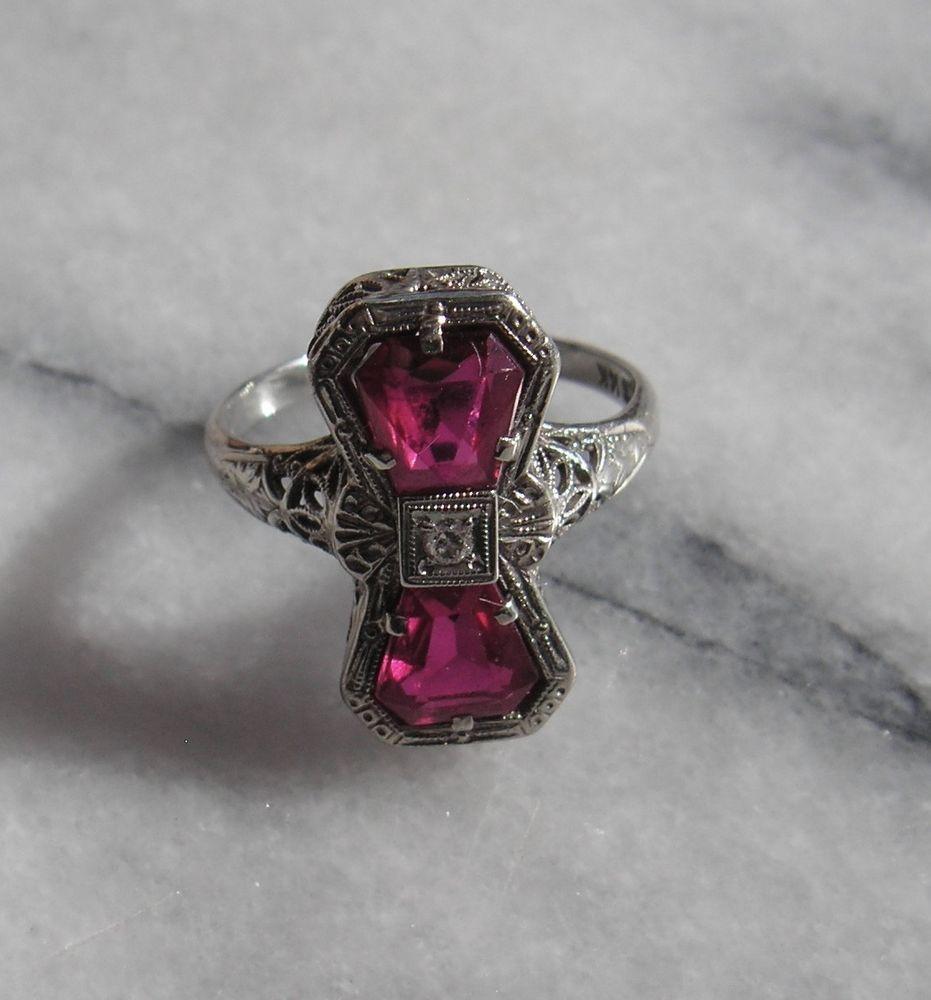 Antique belais 14k white gold art deco ruby diamond ring
