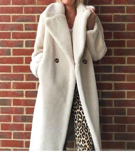 ef9e687d0e6 H M CONSCIOUS Trend Light Beige Wool Fur Shearling Teddy Kardashian Coat sz  4 6