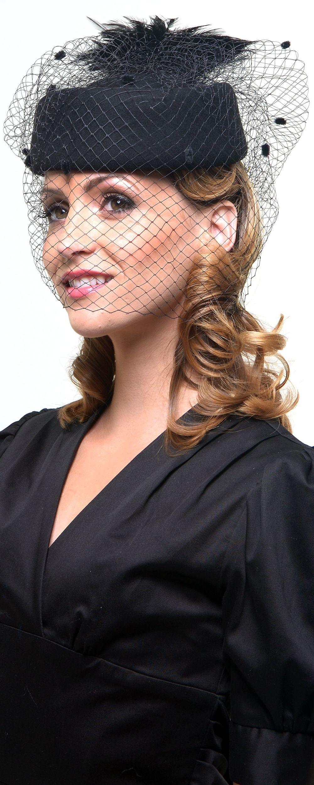 Black Felt Pill Box Hat With Feather   Veil Accent - Unique Vintage -  Cocktail 1ea299de9f83