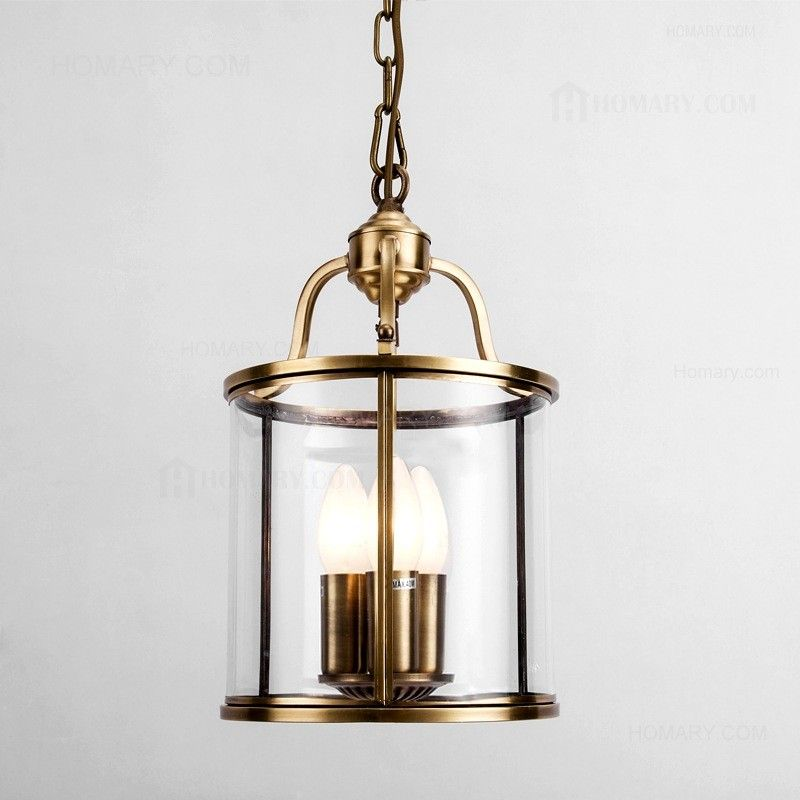 3 Candle Light Solid Brass Cylindrical Hanging Pendant Ceiling Pendant Lights Hanging Pendants Lights