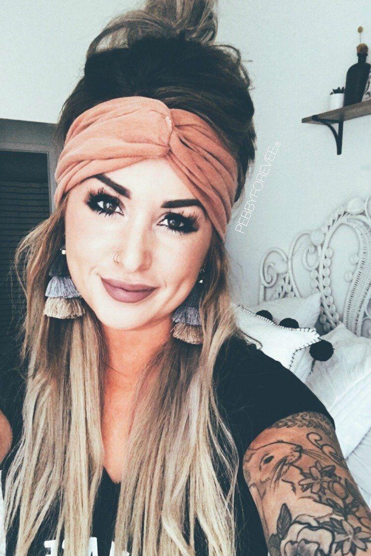 Extra wide headband twist turban cognac in makeup