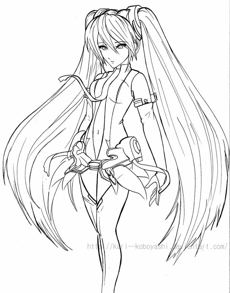 Miku Append Line Art By Kari Koboyashi On Deviantart In 2020 Line Art Art Anime Art Tutorial