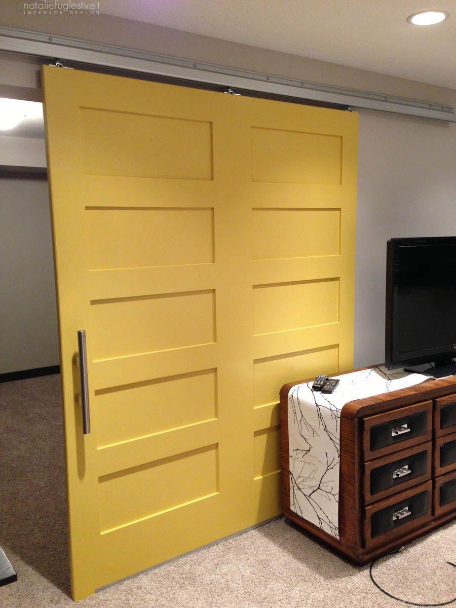 Modern Yellow Barn Door Project By Calgary Interior Designer Barn