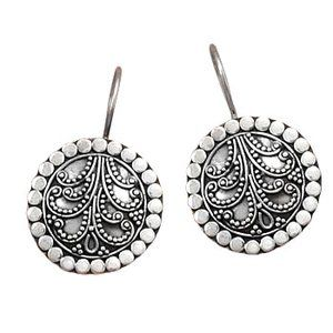 Antiqued sterling silver 18mm round beaded Bali design french wire earrings. The earrings hang 28mm. .925 Sterling Silver     Price: $37.81