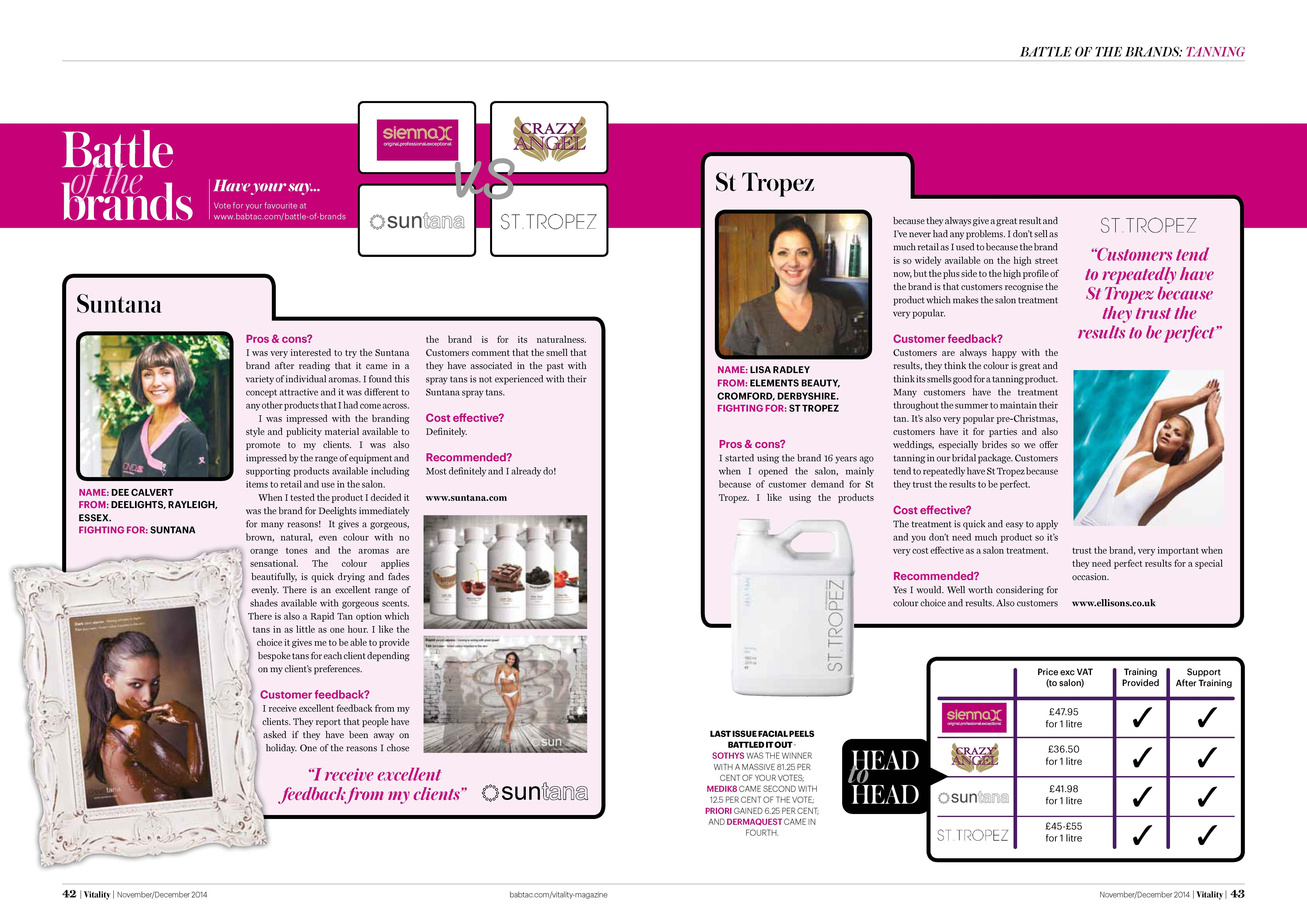 Suntana Featured In Vitality S Battle Of The Brands Feature Babtac Cibtac Magazine For Therapists Worldwide A Massiv Recent Events Spray Tanning Wonder