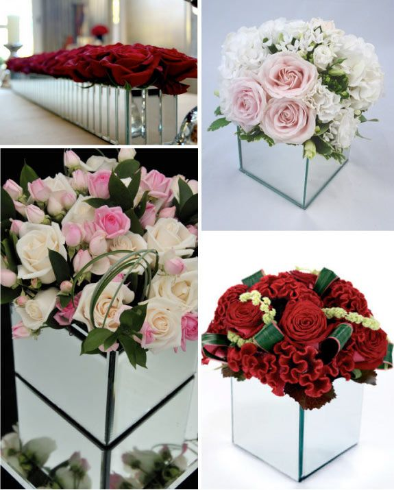 Mirrored Vases For Centerpieces Gala Decorations Reception Table Centerpieces Mirror Vase