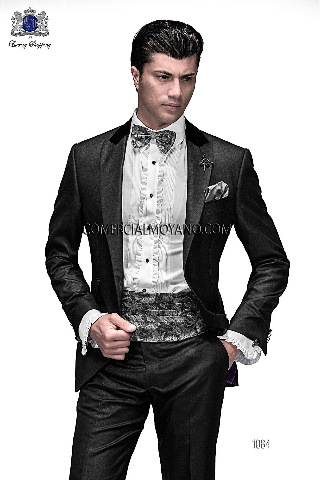 Italian bespoke black fashion suit, in new performance fabric, style 1084 Ottavio Nuccio Gala, 2015 Emotion collection.