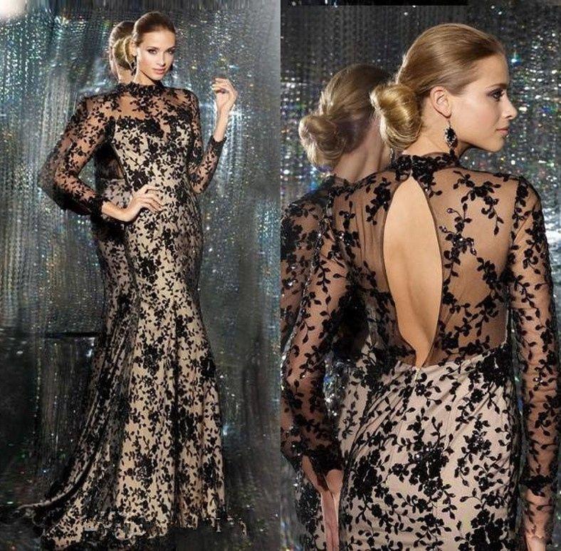 Neue Ankunft High Neck Long Sleeves Mermaid Abendkleid Schwarz Appliques Spitze Prom Kleider Abendkleid //Price: $US $148.00 & FREE Shipping //     #dazzupde