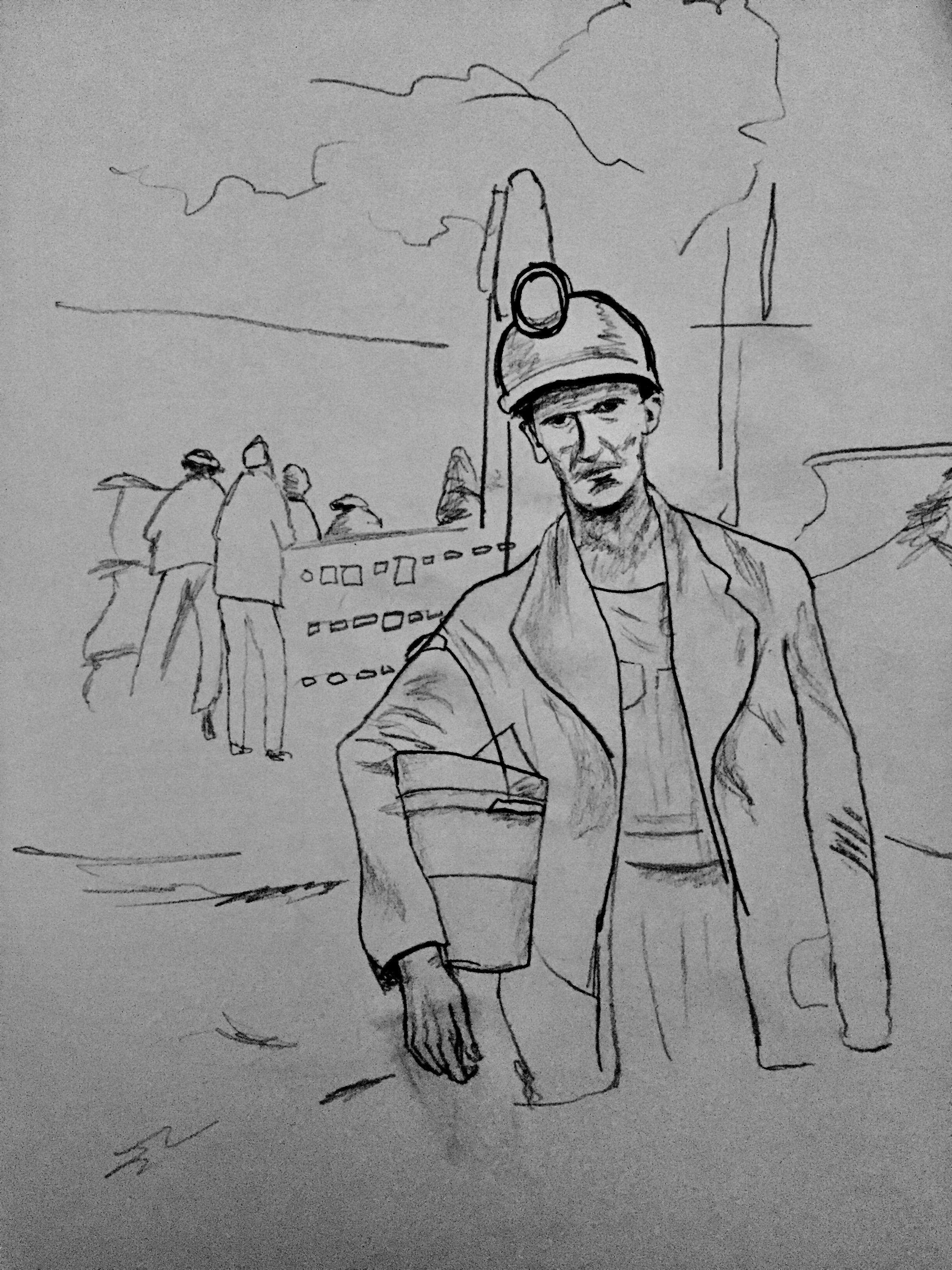 Coal miner isadora harper pencil drawing 2017